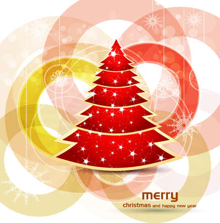 florish: beautiful bright colorful christmas tree artistic vector design Illustration