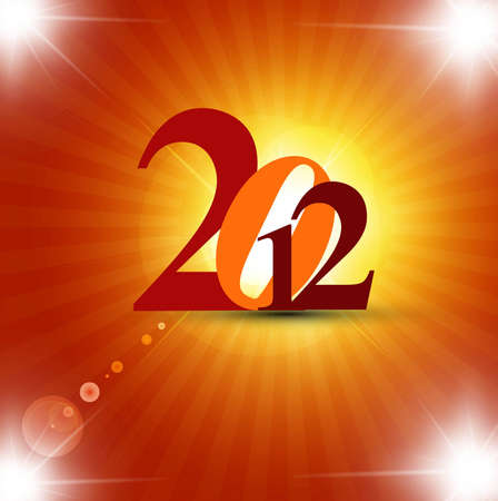 shin: new year 2012 fantastic colorful vector design