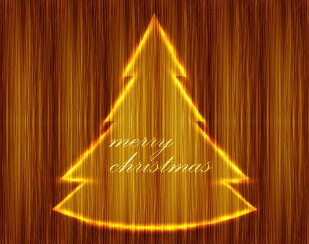 shin: Wood Christmas background tree vector design