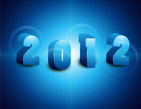 new year 2012 fantastic blue colorful vector design Vector