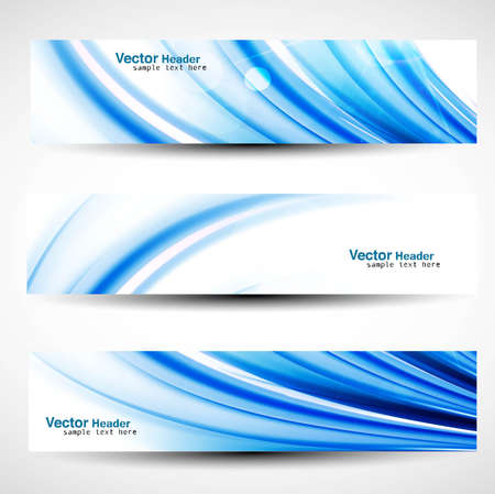 abstract new wave header vector set Stock Vector - 19260042
