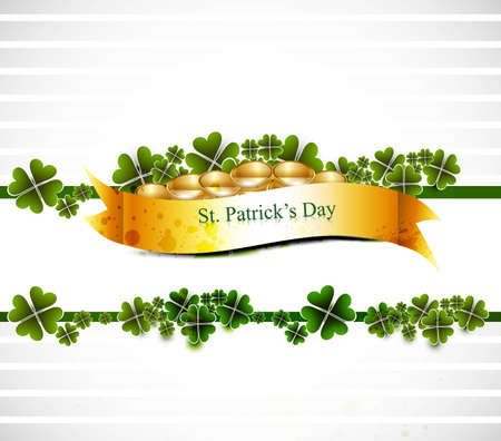 17th:  beautiful st patricks day illustration with gold shiny coins vector design Illustration