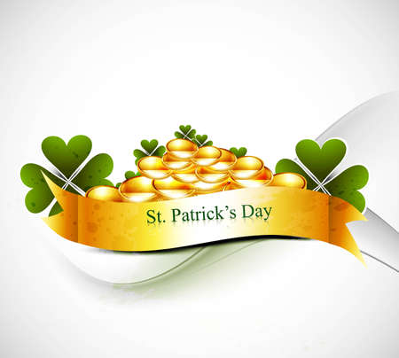 newl st patrick's day illustration with gold shiny coins vector design Stock Vector - 19260196