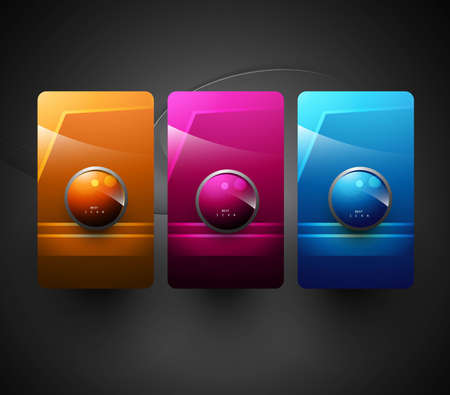 Three style new element with text  web icon  prestation vector  Vector