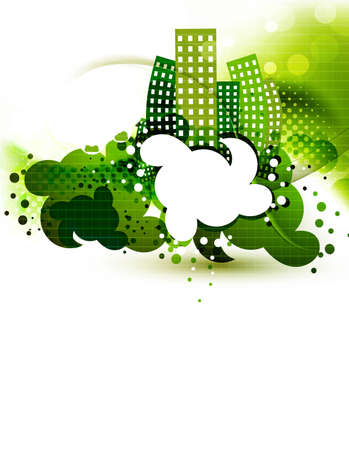 town abstract: new  green eco town abstract ecology vector background