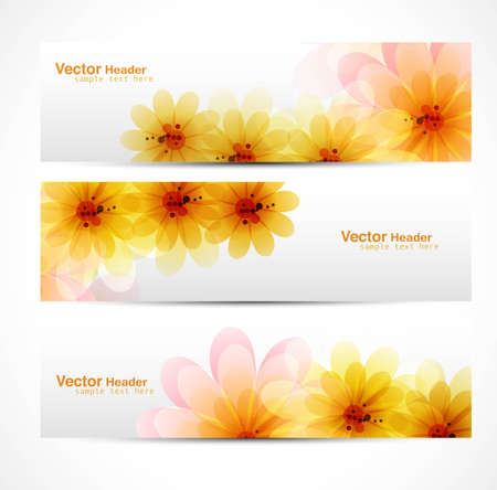 Beautiful Flower background brochure vector template header set Vector