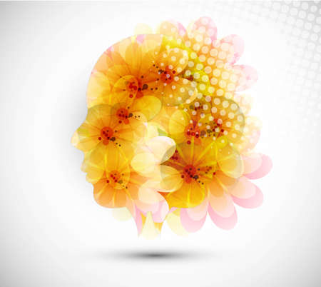 abstract colorful woman with flowers vector design Vector