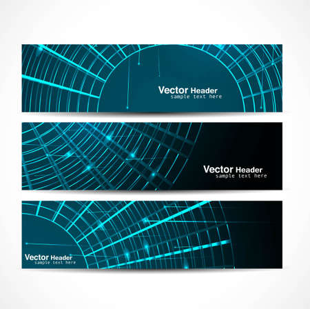 abstract new shiny header vector set illustration Stock Vector - 19723909