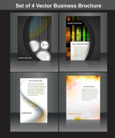 set of four business brochure vector design