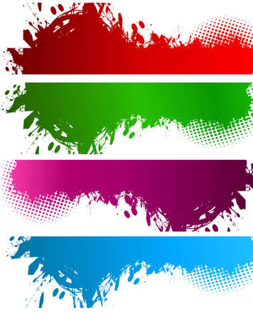 abstract illustration set of colorful grungy banner set vector Stock Vector - 19723955