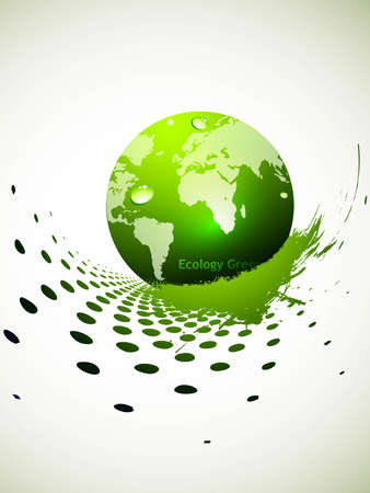 abstract colorful green glossy globe Vector background Vector