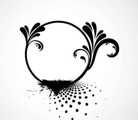Floral grunge frame black and white design vector Stock Vector - 20080355