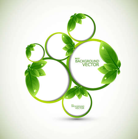 abstract nature leaf circle bubbles ecology vector background Vector