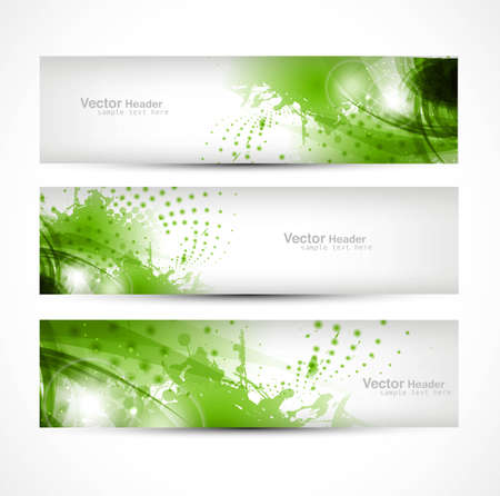 set of three banners  abstract headers with green blots vector design Vector