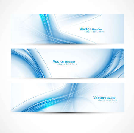 blue stripes: abstract new wave three header set banners vector illustration