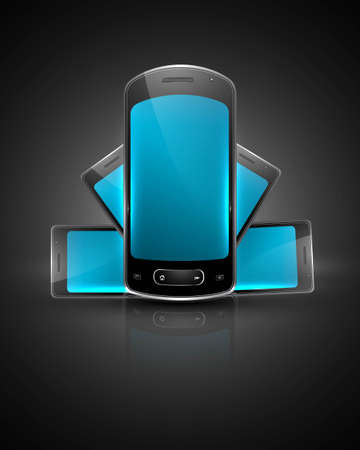Shiny smart phone or mobile colorful handset reflection vector Stock Vector - 20615080