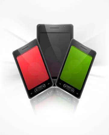 Shiny smart phone or mobile colorful handset presentation background illustration Stock Vector - 20615068