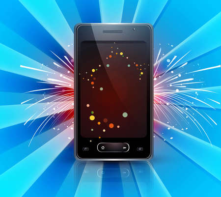 Abstract Mobile phone celebration blue colorful background vector Stock Vector - 20615057