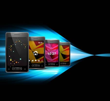 smart phone or mobile colorful handset blue wave black background vector Stock Vector - 20615023