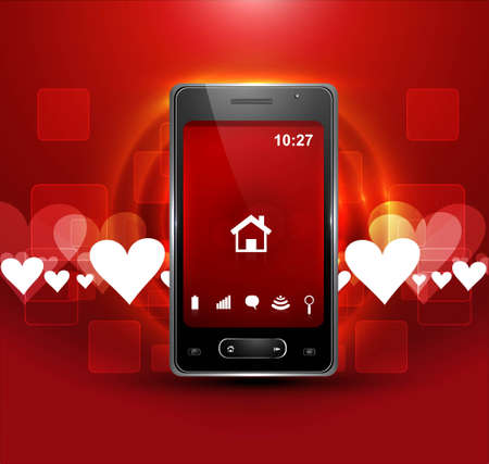 Abstract smart phone or mobile handset colorful heart presentation background vector Stock Vector - 20615007