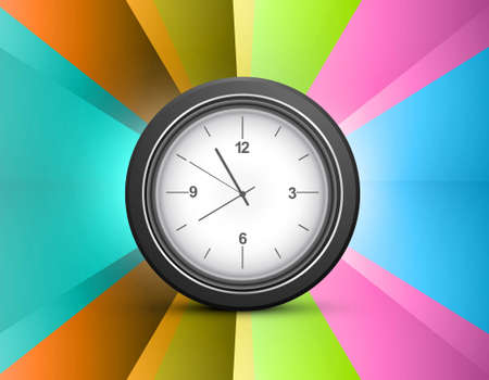 Shiny rainbow colorful swirl wave single clock design Vector