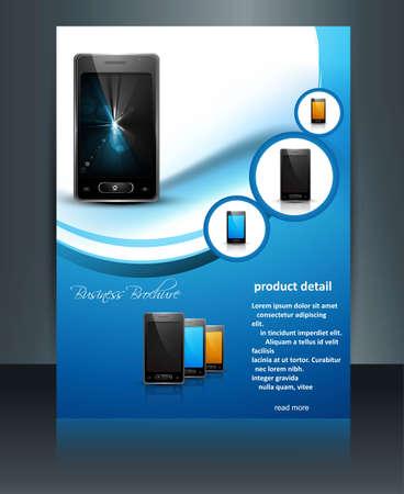 브로셔 프리젠 테이션 반사 템플릿 휴대 전화 파란색 컬러 풀 한 디자인
