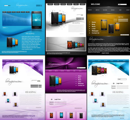 Website template mobile phone presentation collection colorful design