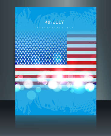 American flag independence day brochure card reflection illustration Vector