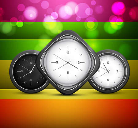 Shiny clock colorful rainbow background Vector