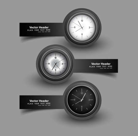 duration: Set of three gray colorful headers with timers watch illustration