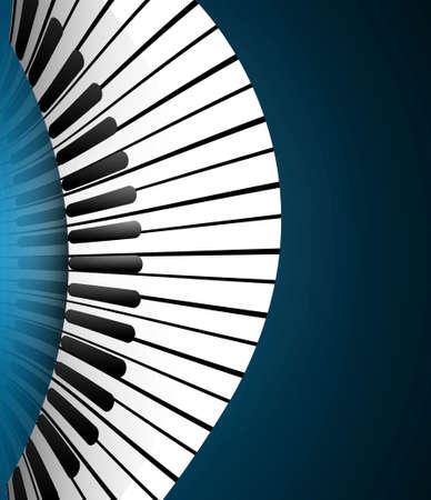 Piano keys blue colorful realistic design
