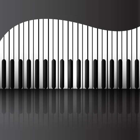 Abstract background with piano keys reflection  Illustration