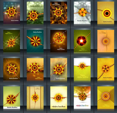 Raksha bandhan beautiful celebration 25 brochure collection presentation reflection design Vector