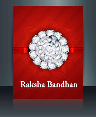bahan: Raksha Bandhan festival brochure red colorful template illustration