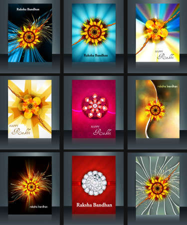 Raksha bandhan beautiful celebration 9 brochure collection presentation reflection design Vector