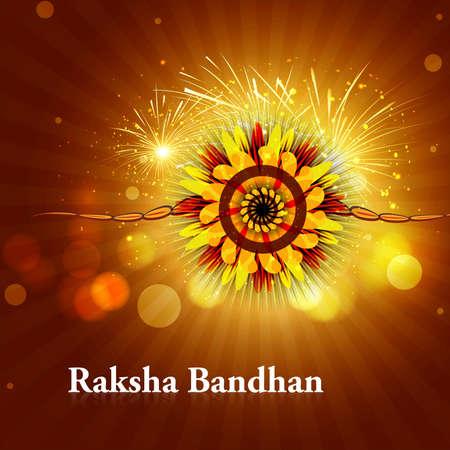 raksha: Indiano festival background con bella Rakhi Raksha Bandhan illustrazione