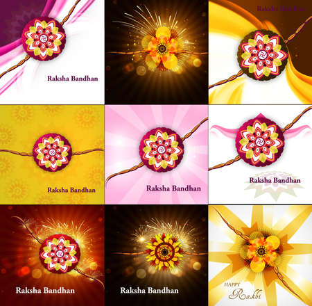 raksha: Presentation beautiful Raksha bandhan celebration collection colorful background  Illustration