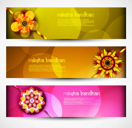 raksha: Raksha Bandhan celebration bright colorful three headers illustration Illustration