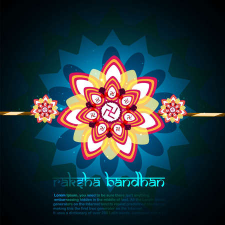 bahan: Fantastic raksha bandhan card blue colorful design  Illustration