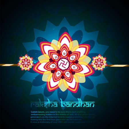 raksha: Fantastic raksha carta bandhan blu colorful disegno Vettoriali