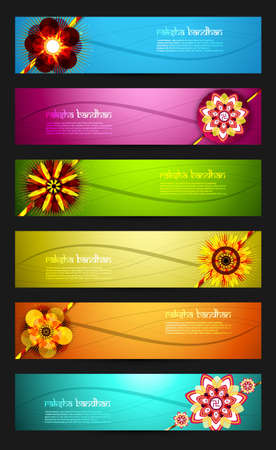 raksha: Raksha Bandhan celebration bright colorful six headers design Illustration