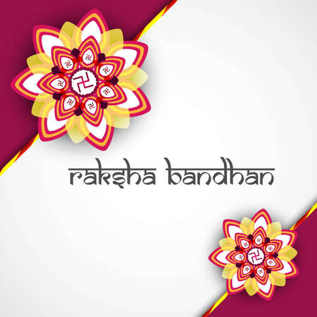 bahan: Beautiful Hindu rakhi card colorful presentation design Illustration