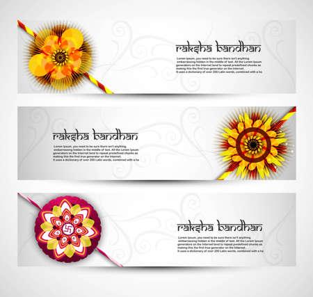 bahan: Fantastic Raksha Bandhan celebration colorful three headers  Illustration