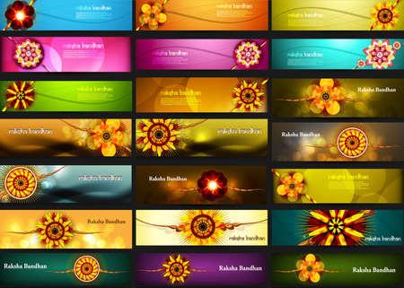 raksha: Raksha Bandhan celebration bright colorful 21 headers design
