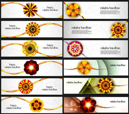 bahan: Beautiful Raksha Bandhan celebration colorful 21 headers  Illustration