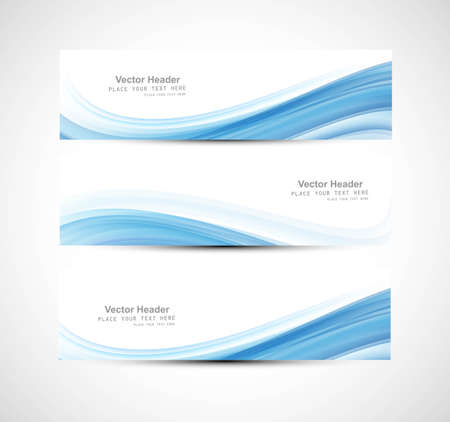 illustration background: Abstract header blue wave design