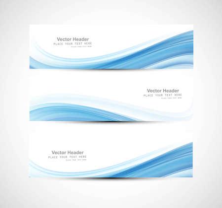 abstract: Absztrakt header kék hullám dizájn Illusztráció