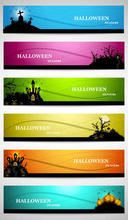 abstract bright colorful headers set of six halloween design vector