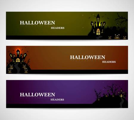 Happy Halloween day bright colorful headers set design vector Stock Vector - 21755899