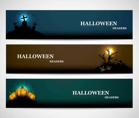 Happy halloween headers set  presentation bright colorful vector illustration Vector